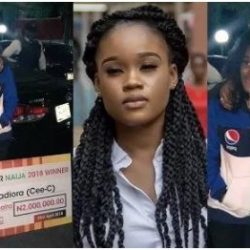 #BBNaija 2018: Cee-C spotted with her dad at the airport; receives N2million from fans