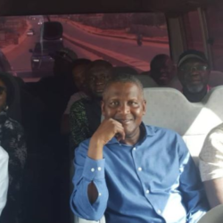 Femi Otedola Enjoys Sunday Bus Ride With Governor Ambode And Aliko Dangote