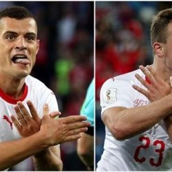 #Worldcup 2018: Switzerland Players Under Investigation For Celebrating Their Goals Like This (Photos)